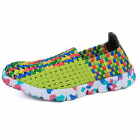 Green multi color weave pattern slip on shoe sneaker 01