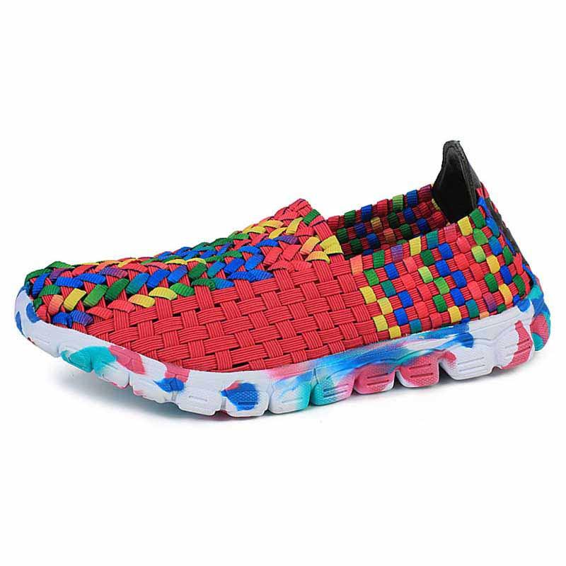 cb06c859966a4 Rose red multi color weave pattern slip on shoe sneaker 01