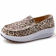 Leopard pattern canvas slip on rocker bottom shoe sneaker 01