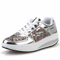 Silver pattern leather rocker bottom shoe sneaker 01