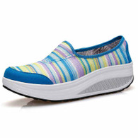 Blue rainbow slip on rocker bottom shoe sneaker 01
