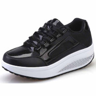 Black pleated leather rocker bottom shoe sneaker 01