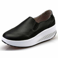 Black plain color slip on rocker bottom shoe sneaker 01