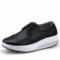 Black brogue leather rocker bottom shoe sneaker 01