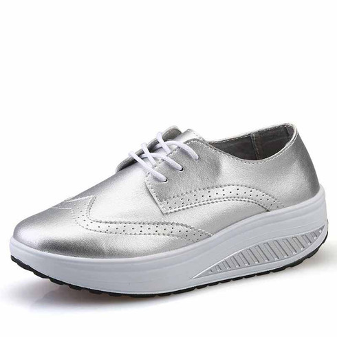 Silver brogue leather rocker bottom shoe sneaker 01