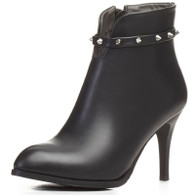 Black rivet decorated leather zip heel shoe boot 01