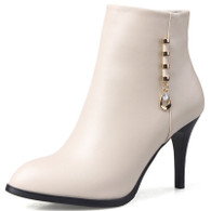 Beige rivet decorated leather zip heel shoe boot 1726 01