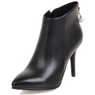 Black leather point toe zip heel shoe boot 01