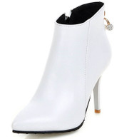 White leather point toe zip heel shoe boot 01