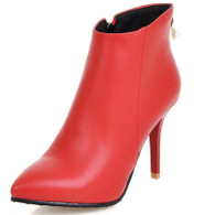 Red leather point toe zip heel shoe boot 01