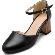 Black buckle strap leather slip on chunky heel shoe sandal 01