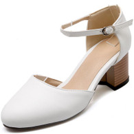 White buckle strap leather slip on chunky heel shoe sandal 01