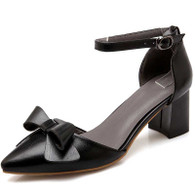 Black butterfly buckle leather chunky heel shoe sandal 01