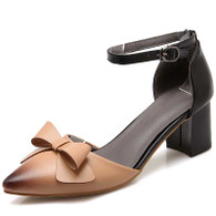 Apricot butterfly buckle leather chunky heel shoe sandal 01