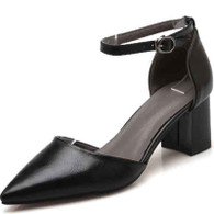 Black ankle strap leather chunky heel shoe sandal 01