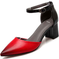 Red ankle strap leather chunky heel shoe sandal 01
