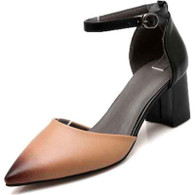 Apricot ankle strap leather chunky heel shoe sandal 01