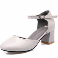 Grey buckle strap leather chunky heel shoe sandal 01