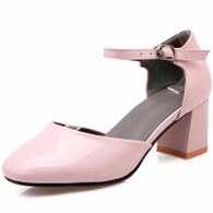 Pink buckle strap leather chunky heel shoe sandal 01