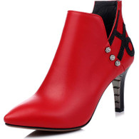 Red rhinestone leather zip heel shoe boot 01