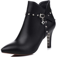 Black rivet rhinestone leather zip heel shoe boot 01