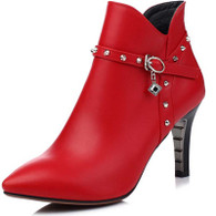 Red rivet rhinestone leather zip heel shoe boot 01