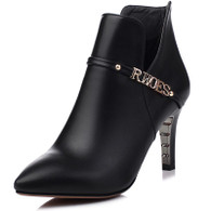 Black rivet letter leather zip heel shoe boot 01