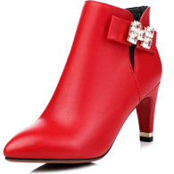 Red rhinestone leather zip heel shoe boot 1744 01