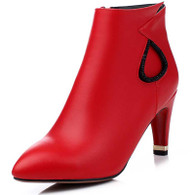 Red rhinestone leather zip heel shoe boot 1745 01