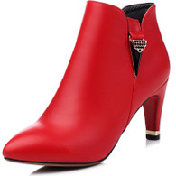 Red rhinestone leather zip heel shoe boot 1746 01