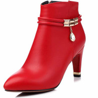 Red rhinestone leather zip heel shoe boot 1747 01