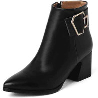 Black retro buckle leather zip low heel shoe boot 01