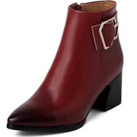 Red retro buckle leather zip low heel shoe boot 01