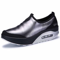 Black leather slip on rocker bottom shoe sneaker 01