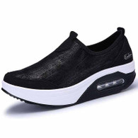 Black leather slip on rocker bottom shoe sneaker 1758 01