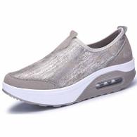 Grey leather slip on rocker bottom shoe sneaker 1758 01