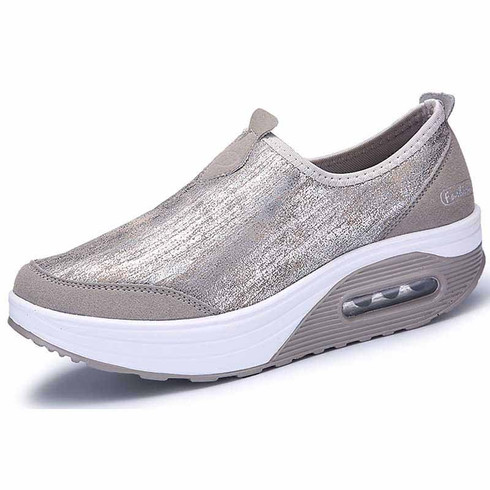 grey leather slip on rocker bottom shoe sneaker  womens