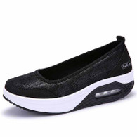 Black leather low cut slip on rocker bottom shoe sneaker 01