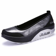 Black silver low cut slip on rocker bottom shoe sneaker 01