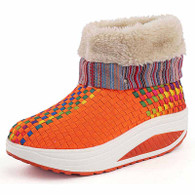 Orange rainbow winter slip on rocker bottom shoe boots 01
