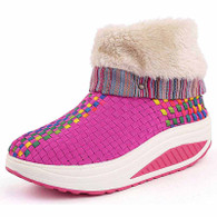 Pink rainbow winter slip on rocker bottom shoe boots 01
