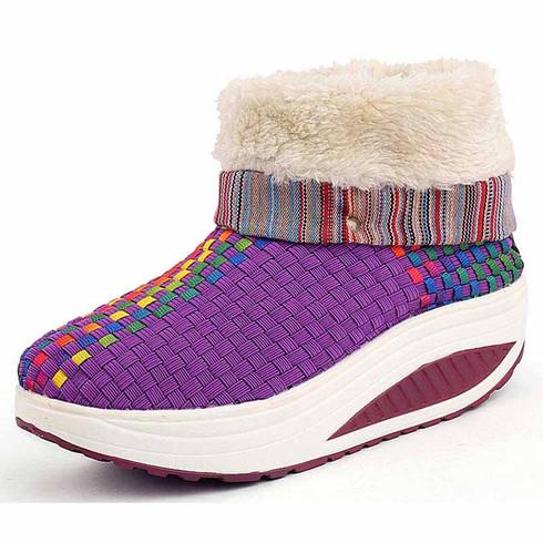 Purple rainbow winter slip on rocker bottom shoe boots 01