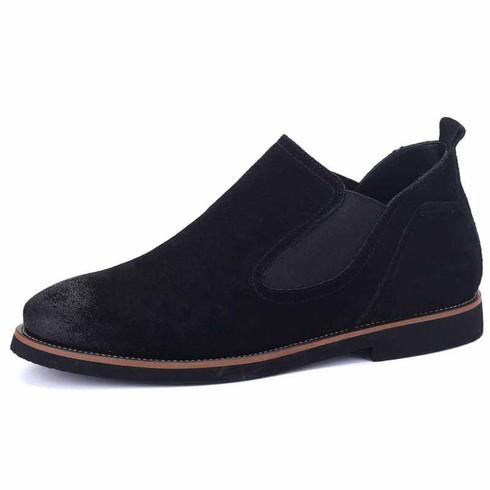 black retro leather slip on dress shoe mens dress
