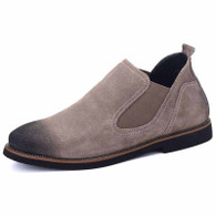Grey retro leather urban slip on dress shoe 01