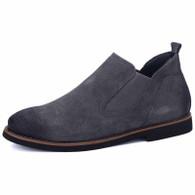 Dark grey retro leather urban slip on dress shoe 01