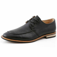 Black leather plain Derby lace up dress shoe 01