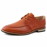 Brown leather plain Derby lace up dress shoe 01