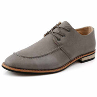 Grey leather plain Derby lace up dress shoe 01