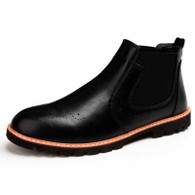 Black leather Brogue slip on dress shoe boot 01
