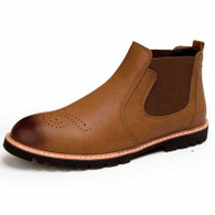 Brown leather Brogue slip on dress shoe boot 01